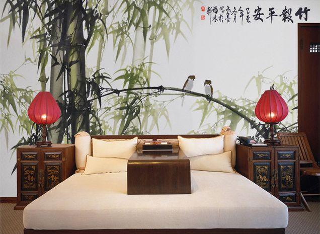 Papier peint chinois en noir blanc vert - Les bambous et les oiseaux