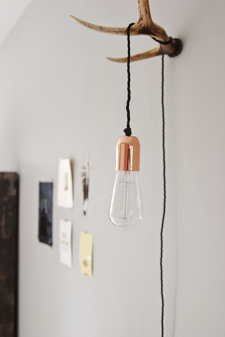 Copper & antler lamp diy