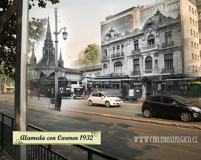 Comparativa histórica de Alameda / Carmen, 1923. Al fondo Iglesia del Carmen Alto. Vía nuestro amigo @chilenostalgico