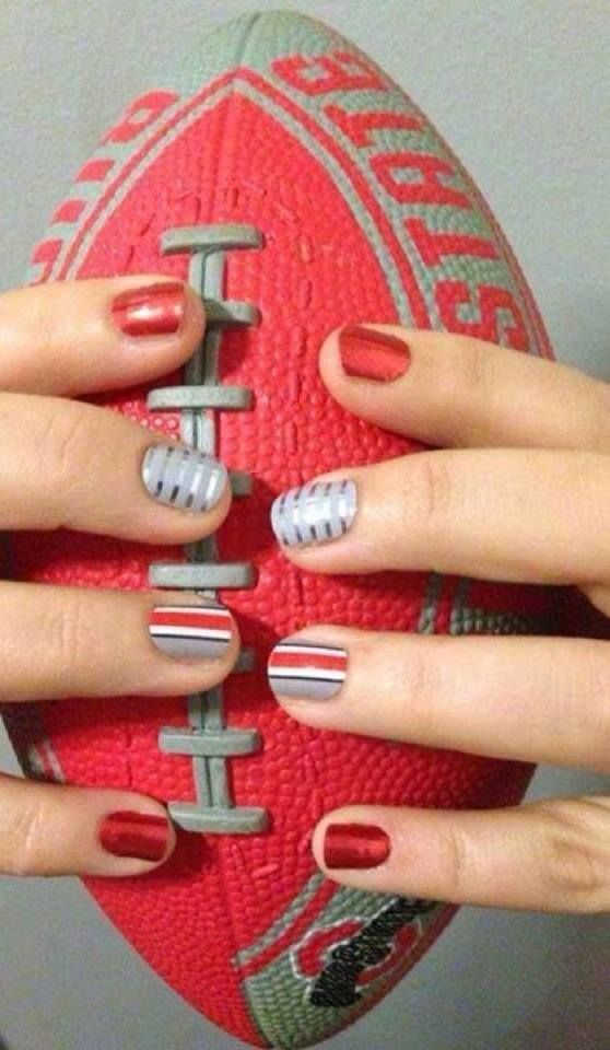 Go Bucks!  Ohio State spirit fingers with Jamberry! www.kerriberry.jamberrynails.net