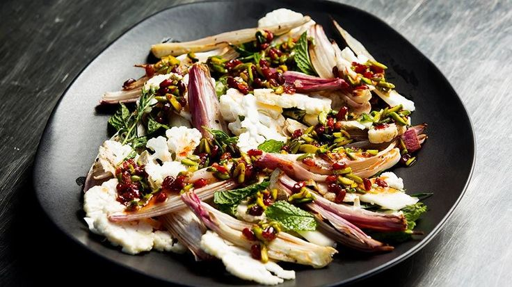 Cauliflower Salad with Shallots, Barberries and Pistachios