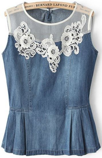 Blue Contrast Lace Sleeveless Denim Top pictures