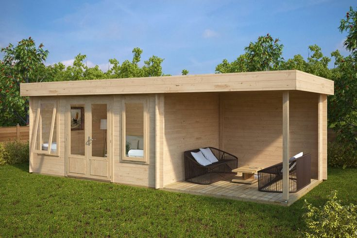This luxury garden room, like most of our garden log cabins can easily be installed within two days without hiring professionals. If you want to use this building for 365 days a year, you need to insulate its walls, floor and roof. Other necessary components like 44 mm thick walls and double glazing in windows and doors are all included in the standard price.