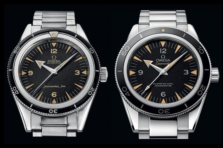 The 1957 version of the Omega Seamaster 300 vs the new 2014 Master Co-axial model.