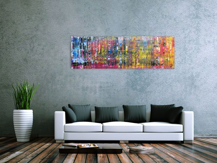 buntes abstraktes gemlde schmal modern viele farben 50x160cm von xxl artde - Moderne Bder