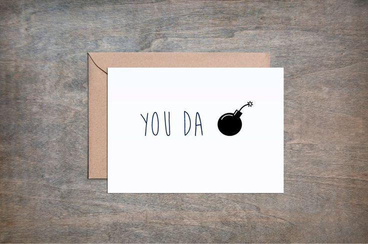 You Da Bomb. Funny Thank You card. Funny Friend Card. Thank You card. Thank You Cards. Thank You Gift.