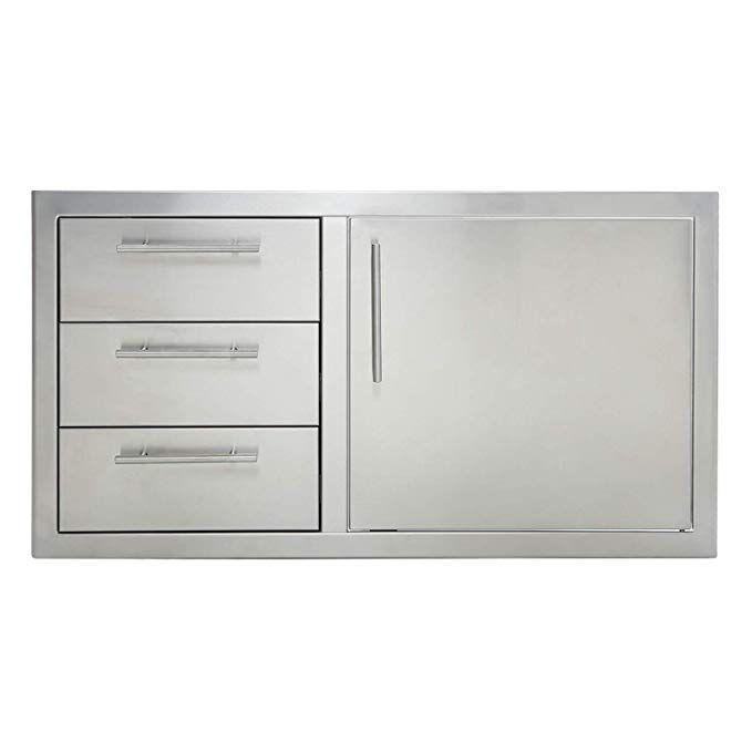 Odthelda Outdoor Barbecue Cabinet Door 304 Grade Stainless No Sharp Door Triple Drawer Combo Widely Used In The Outdoor K Cabinet Doors Outdoor Kitchen Drawers