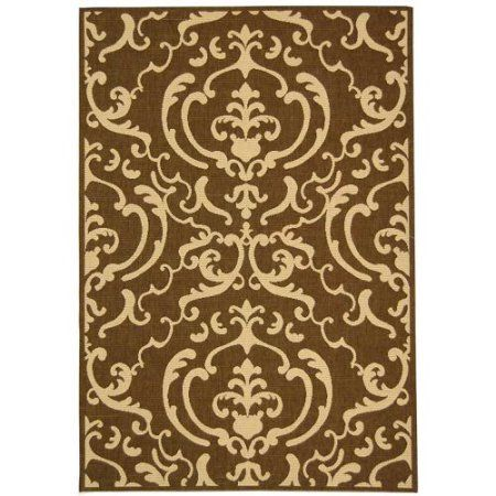 Safavieh CY2663-3409 Courtyard Indoor / Outdoor Chocolate and Natural Power Loom