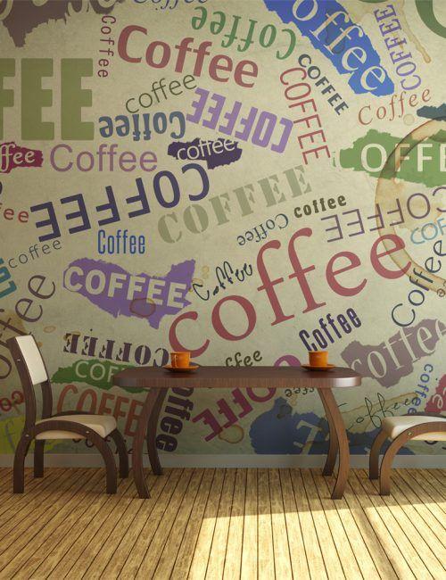 Carta da Parati Scritte di Caffè Carta da Parati Fotomurale per la Cucina