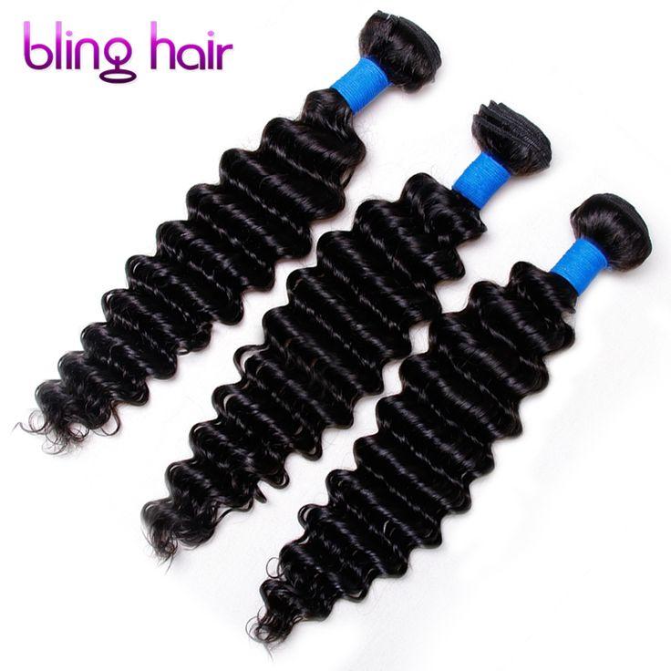 Bling hair Peruvian Deep Wave 3 Bundles Nature Black Remy Human Hair For Salon Hair Extention Low Ratio Longest Hair PCT 15%