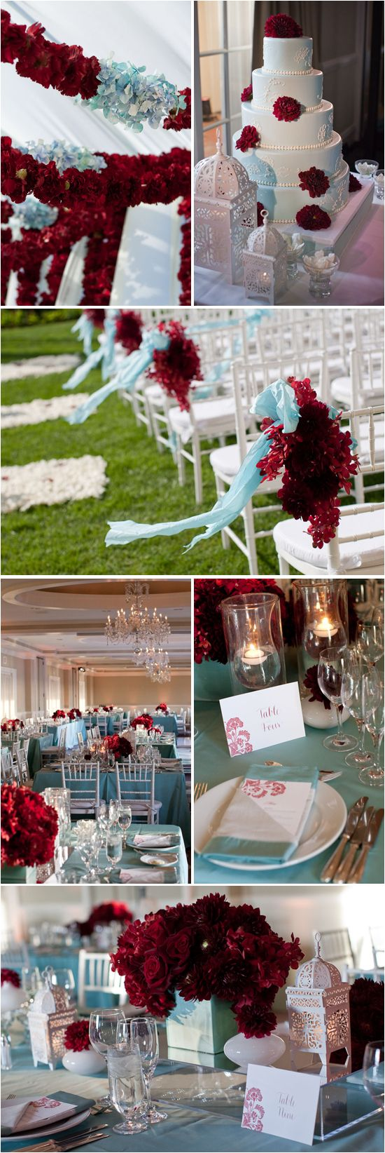The team behind Details Details event and wedding planning sent over a recent soiree they put together. They loved the vibrant deep red and light blue color palette -- and we do too! The right color combination creates a dramatic and unforgettable impression on the day -- this particular pairing is romantic, grandiose and elegant. Enjoy the red/blue inspiration!