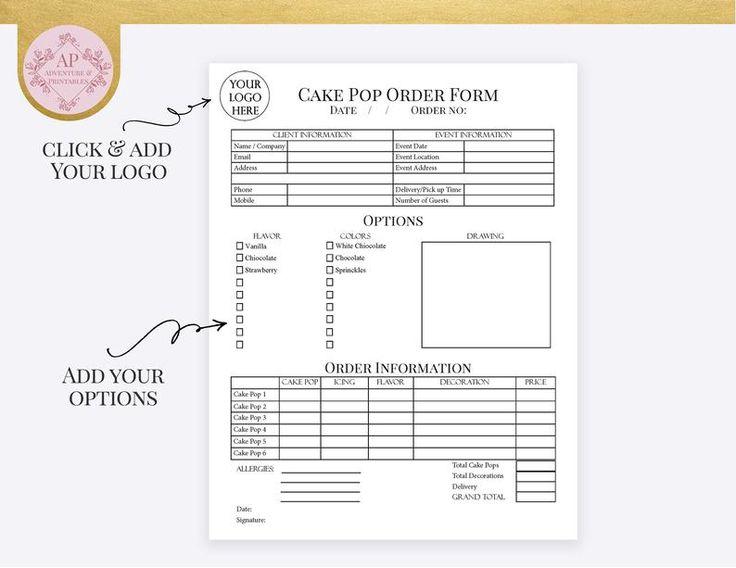 Custom cake pop order form bakery forms cake pop order