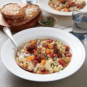 Chickpea and Sausage Minestrone | CookingLight.com #myplate #veggies #proteinHealthy Meals, Cooking Lights Recipe, Healthy Food Recipe, Weight Loss, Sausage Minestrone, Loss Dishes, Healthy Recipe, Weights Loss, Diet Recipe