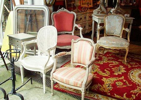 vintage flea market chairs | Paris flea market antique furniture shabby chic | For the Home