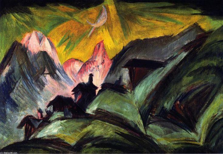 """Ernst Ludwig Kirchner, """"Stafelalp bei Mondschein""""."""