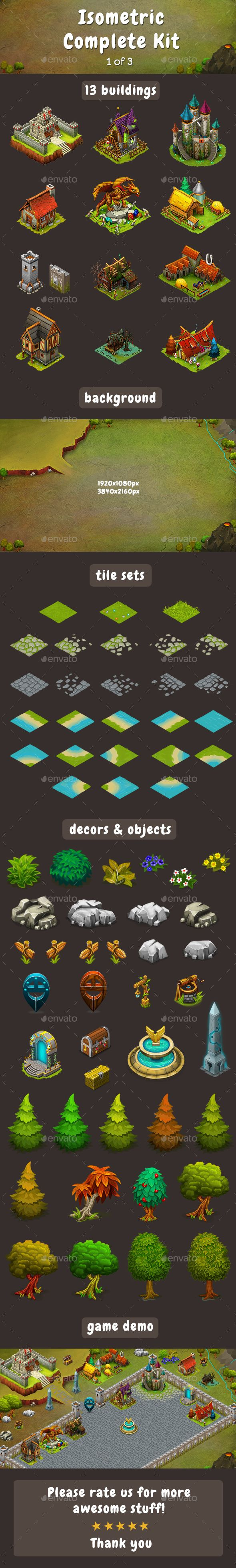 Isometric Game Kit 1 of 3  Towers, Backgrounds, Tilesets & more — Photoshop PSD #tiles #isometric land • Available here → https://graphicriver.net/item/isometric-game-kit-1-of-3-towers-backgrounds-tilesets-more/17181727?ref=pxcr