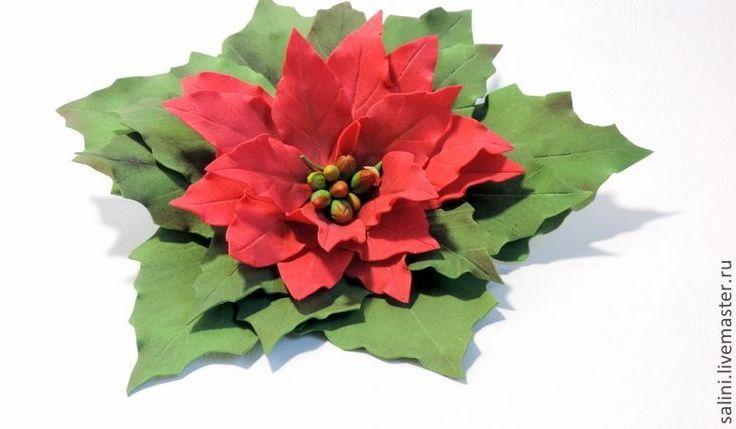"""Брошь из фоамирана""""Рождественская звезда"""" - зеленый,брошь,брошь цветок"""