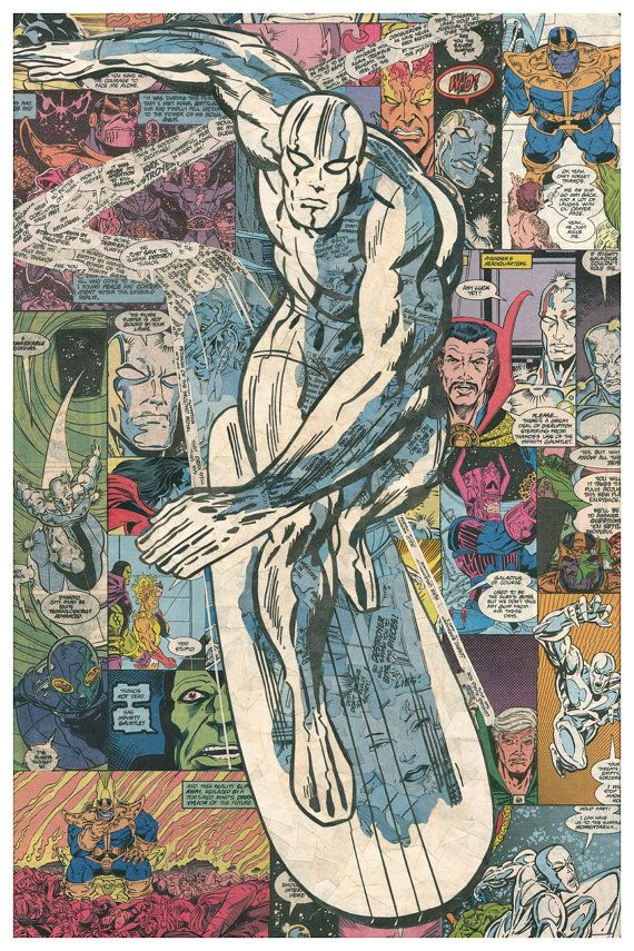 Giclee print of my 12x18 Silver Surfer comic collage, modeled from the art and imagination of the amazing Jack Kirby. This pose is probably the most iconic image of the Surfer ever drawn. Everything you see(in the original) is comic book. No marker, paint, or alternate paper. Just comics and glue. Most original pieces take approx. 100-150 hours to complete.