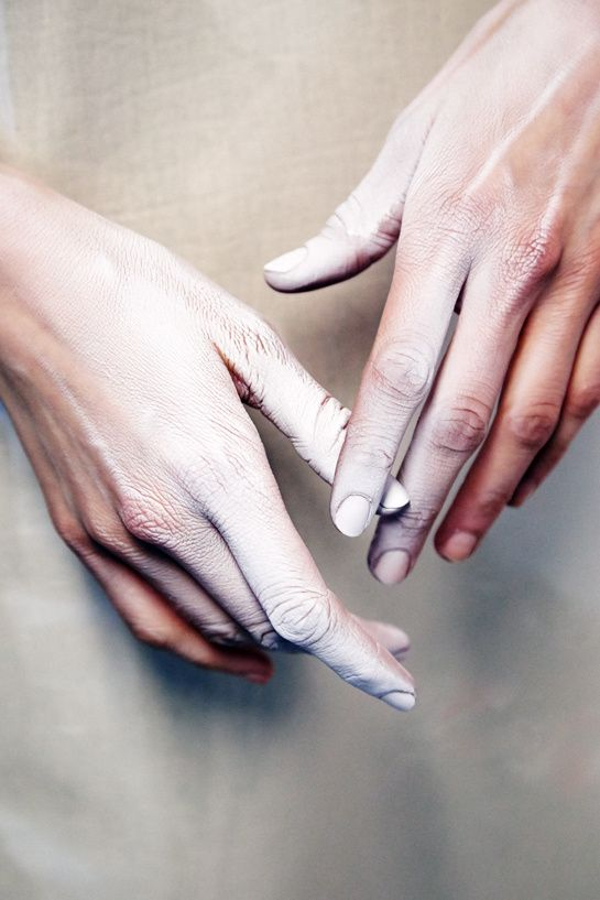 Beauty details backstage at Gareth Pugh F/W 2014