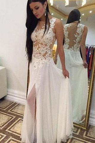 Sexy A-line Crew Floor-Length Chiffon Sleeveless Beaded Appliques White Prom Dresses uk PM661