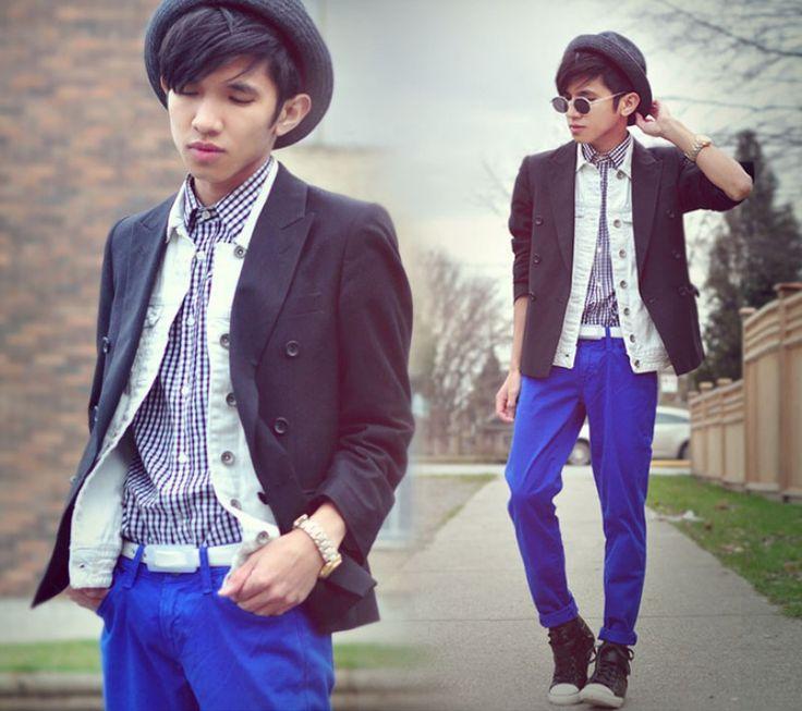 Una idea para combinar pantalones azul klein
