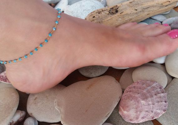 Hey, I found this really awesome Etsy listing at https://www.etsy.com/listing/293862635/turquoise-anklet-gold-anklet-rosary