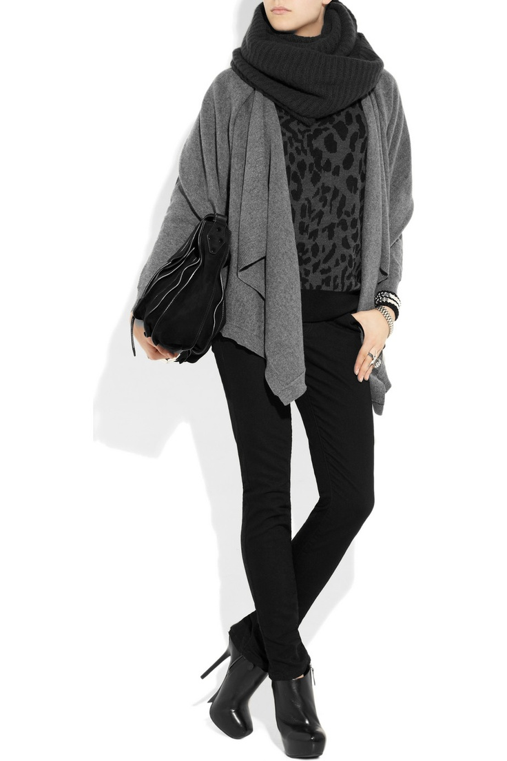 Great outfit in blacks and greys with slim pants and animal print top by DKNY  -repinnedCashmere Cardigans, Layered Cashmere, Dkny Lay Cashmere, Products