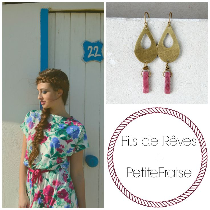 PetiteFraise + Fils de Rêves: style tips part IV. Romantic flowers in pink, brass drop earrings, hippie chic style, boho chic, summer, spring, floral, made in italy, handmade
