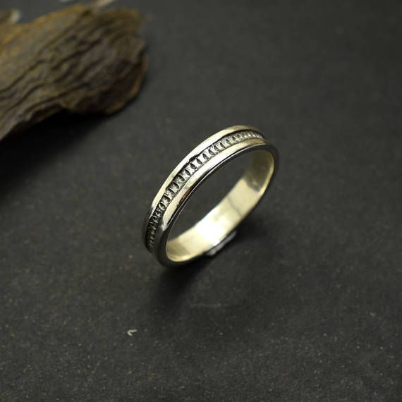 f676ce1ec55d1 Silver band ring for men, Slim band sterling silver ring stacking ...