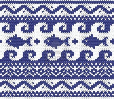 Seamless knitted marine pattern vector illustration  Stock Photo