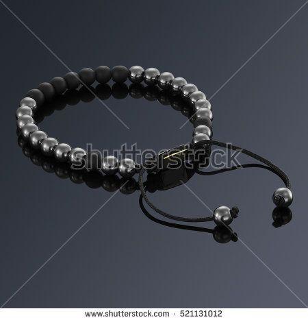 Lucky stone bracelet isolated on black background