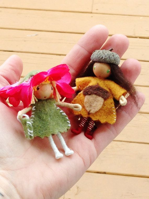 Waldorf Doll Bendy Doll Spring Flower Gnome and by ACuriousTwirl, $13.50