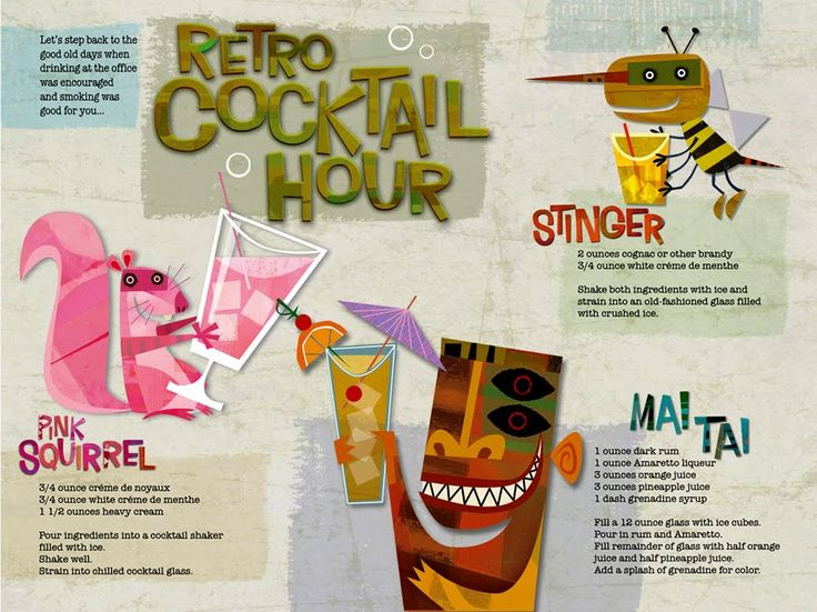 Aloha Tiki: Cocina Ilustrada, Cocktails Hour, Aloha Tiki, 24 Hour, Retro Cocktails, Retrojan Cocktails, Hour Parties, Hour Cocktailsandtiki, Food Illustrations
