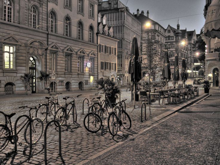 #bicycles #city #cobbled #dawn #downtown #feel #freiburg #germany #hdr #homes #lighting #magnificent buildings #mood #morning #morning hour #road #royalty free #scene #street scene