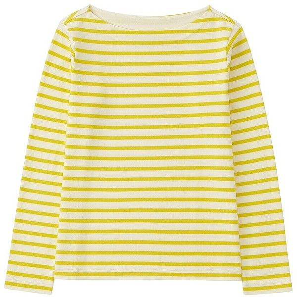 UNIQLO Striped Boat Neck Long Sleeve T-Shirt ($11) ❤ liked on Polyvore featuring tops, t-shirts, shirts, boxy t shirt, beige t shirt, loose long sleeve shirt, loose t shirt and cotton t shirt