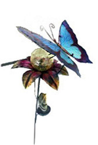 Butterfly Landing on Flower Solar Powered Glass Crackle Globe Garden Stake Light by Garden Sunlight. $21.49. Butterfly Kiss Glass Crackle Ball Solar Light Create a great sense of style and Metal art décor by using this fine solar powered butterfly light as an accent to your garden, yard, walkway or flower pot. Simply place them in a desired sunlight area to add color to your garden by day and the solar panels will absorb power from the sun's light to the rechargeable...