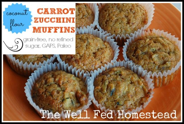 Coconut Flour Carrot Zucchini Muffins.  Ingredients: eggs, coconut oil, honey, vanilla, salt, baking soda, cinnamon, coconut flour, shredded carrots and shredded zucchini.  #paleobreakfast #paleosnack