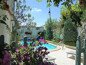 Marbled sun terrace with 3m x 6m swimming pool