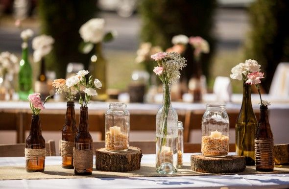 Rustic Wedding Table Displays...  The post may have other ideas that are more you