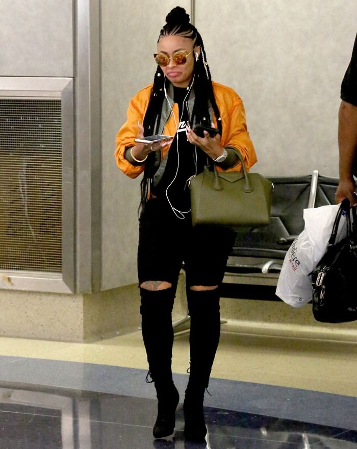 Blac Chyna arrives to LAX Airport looking like a rock star to catch a flight out of town in Los Angeles on August 5, 2017