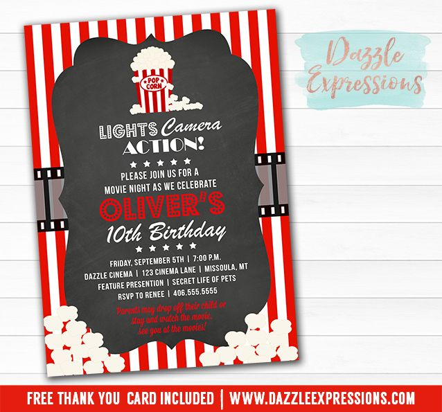 Printable Movie Night Birthday Invitation | Movie or Cinema Event | Hollywood | Backyard Movie | Popcorn Party | Kids Birthday Party Idea | FREE thank you card included | Party Package Decorations Available