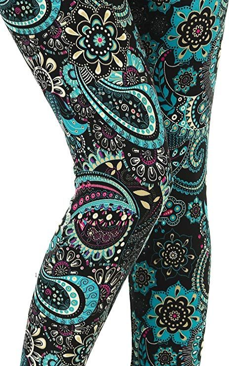 6e395c999ac39 VIV Collection Printed Leggings (Underwater Paisley) at Amazon Women's  Clothing store: