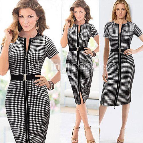 Robes ( Coton mélangé/Polyester ) Sexy/Bodycon/Informel/Imprimé/Soirée/Travail Col V à Manches courtes pour Femme - USD $16.99