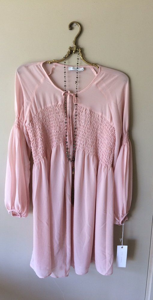 Image of Anthropologie nude blush pink peasant smocking top billowy sleeves dress