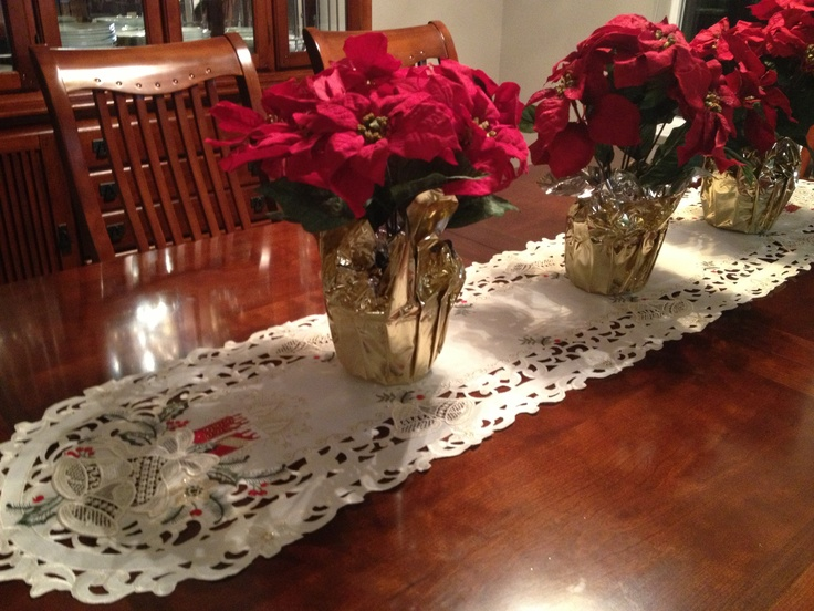 An Elegant Table Runner Craft Show And A Few Poinsettias Bought For Formal Dining RoomsDining