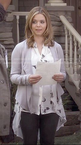Ali's bird print blouse and grey draped jacket on Pretty Little Liars.  Outfit Details: http://wornontv.net/49477/ #PLL