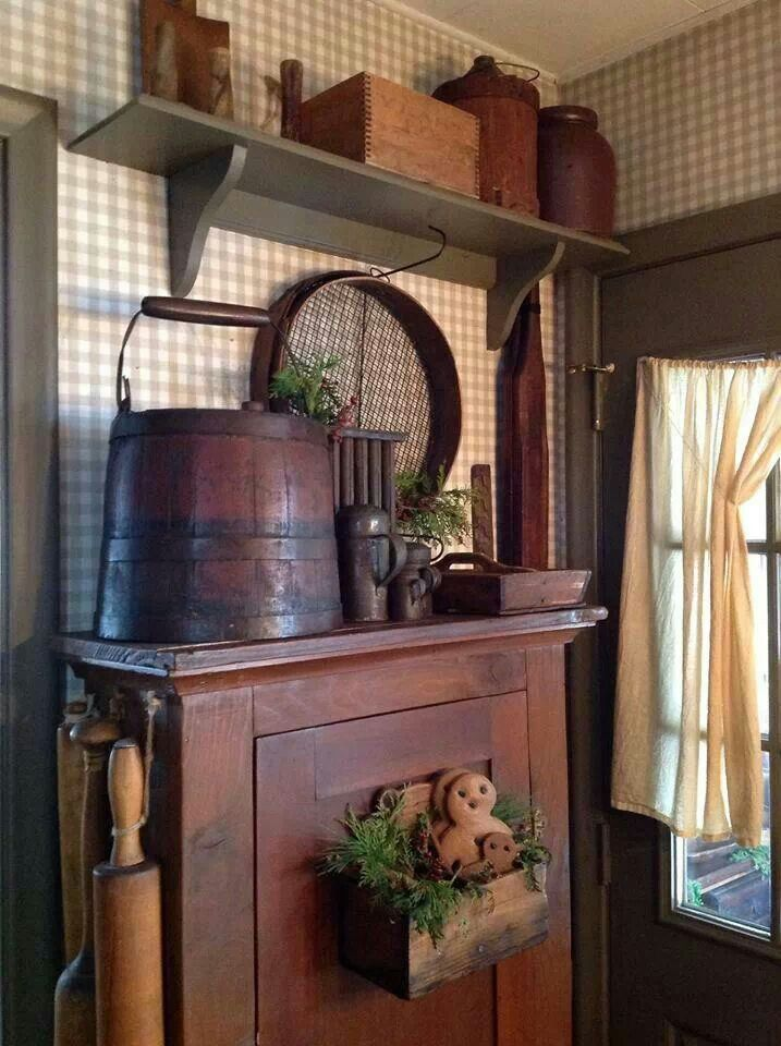 552 best wood bucket 39 s barrels firkins images on for Country antique kitchen ideas