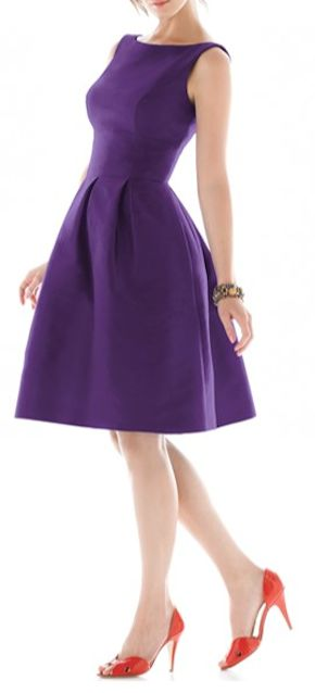 pretty purple fit and flare dress