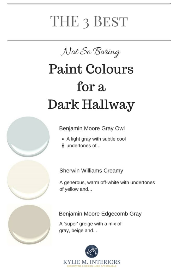 The 3 Best light, neutral and not boring paint colours for a dark hallway or stairwell by Kylie M interiors - Decorating Blog and Online Color Consultant