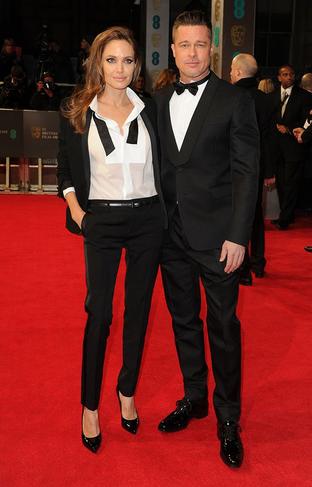 Okay. Okay, fine. I.... I accept Angelina. And it is completely superficially based on the fact that anyone who can wear a Saint Laurent suit and look that flipping perfect is obviously some sort of angel.   Angelina Jolie & Brad Pitt Stun In Matching Tuxedos At The BAFTAs #Refinery29